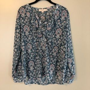 Loft Blouse with Ruffle Lace Up Front